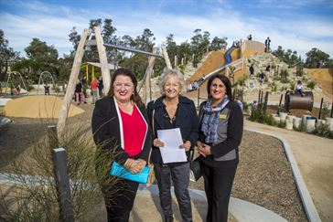 Mornington Peninsula Shire Mayor Councillor Bev Colomb joined the Hon Natalie Hutchins – Minister for Industrial Relations, Aboriginal Affairs and Local Government at the official opening of Destination Rosebud on Thursday 18 May