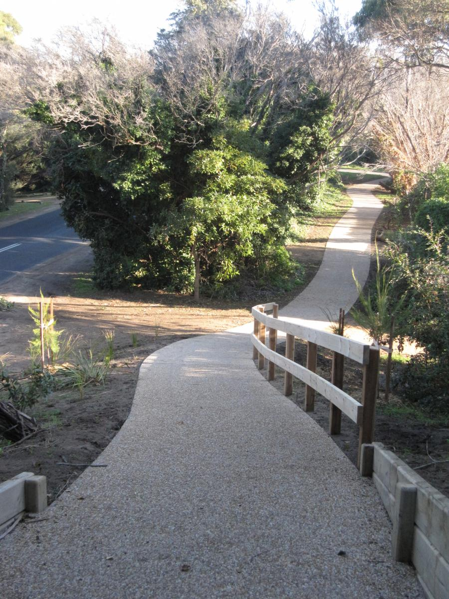 Image shows an example of an exposed aggregate footpath