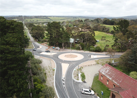Roundabout construction at Bentons Road.png