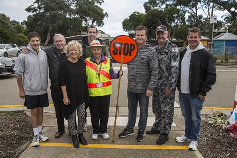Pat celebrated her last day as a Crossing Supervisor with her husband, sons, grandson and Mornington Peninsula Shire's Mayor Councillor Bev Colomb.