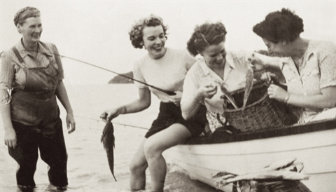 Mrs Milner, owner of Safety Beach Boat Hire c1940s.jpg