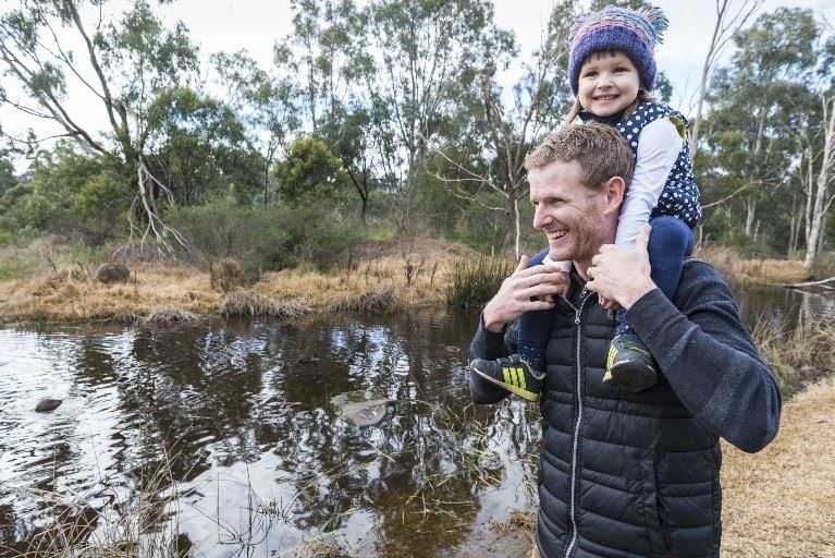 Father and daughter at waterway - Melbourne Water image.jpg